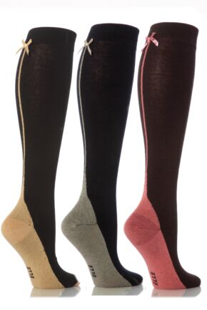 Ladies 1 Pair Elle Knee High Socks with Bow (uk 4-8) - Worth £4.99