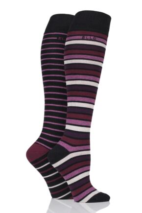 Ladies 2 Pair Elle Plain and Striped Cotton Knee Highs