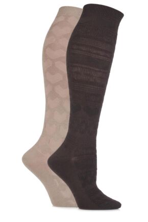 Ladies 2 Pair Elle Fair Isle and Heart Textured Knee High Socks