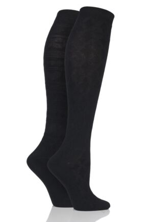 Ladies 2 Pair Elle Floral and Fair Isle Patterned Knee High Socks Black 4-8 Ladies