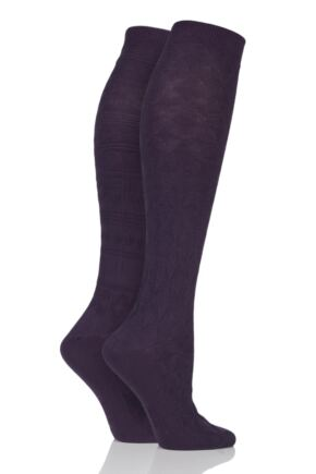 Ladies 2 Pair Elle Floral and Fair Isle Patterned Knee High Socks Purple Raven 4-8 Ladies