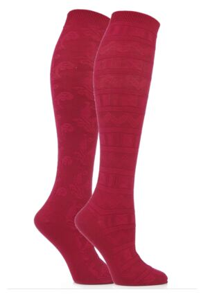 Ladies 2 Pair Elle Floral and Fair Isle Patterned Knee High Socks Plum