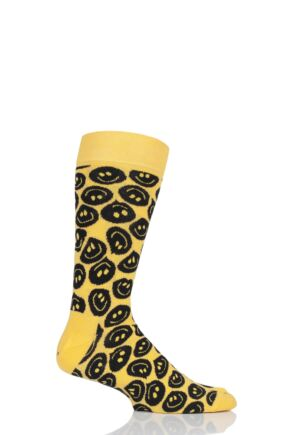 Mens and Ladies 1 Pair Happy Socks Twisted Smile Combed Cotton Socks Yellow 4-7 Unisex