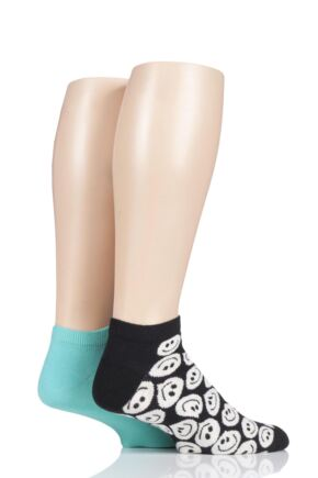 Mens and Ladies 2 Pair Happy Socks Patterned Trainer Socks