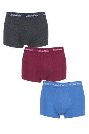 Mens 3 Pair Calvin Klein Low Rise Trunks Charcoal / Raspberry / Cobalt Extra Large