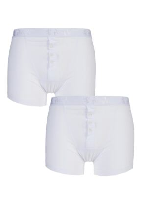 Mens 2 Pack Pringle 3 Button Knitted Cotton Fitted Boxer Shorts White