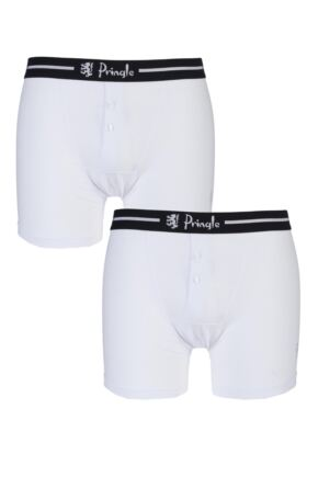 Mens 2 Pack Pringle Henry Button Fly Fitted Boxer Shorts with Striped Waistband White S