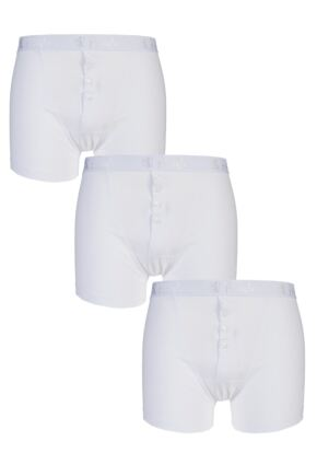 Mens 3 Pack Pringle Button Front Cotton Boxer Shorts White Large