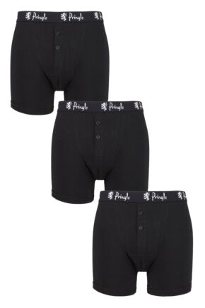 Mens 3 Pack Pringle William Button Front Cotton Boxer Shorts