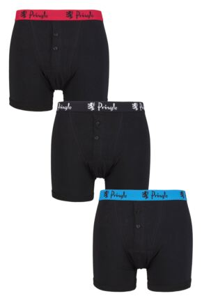 Mens 3 Pack Pringle William Button Front Cotton Boxer Shorts