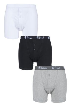 Mens 3 Pack Pringle Button Front Cotton Boxer Shorts