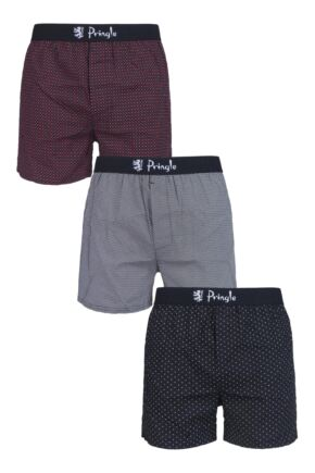 Mens 3 Pair Pringle Plain and Patterned 100% Cotton Woven Boxers