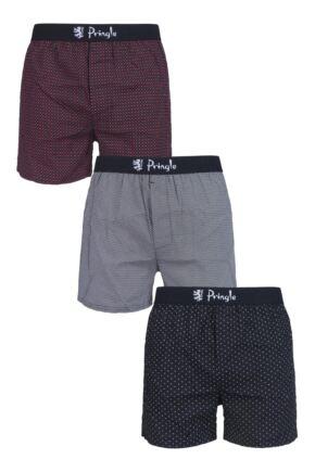 Mens 3 Pair Pringle Plain and Patterned 100% Cotton Woven Boxers Black Dot Large