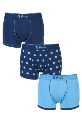Mens 3 Pack Pringle Plain and Large Dot Stripe Cotton Trunks