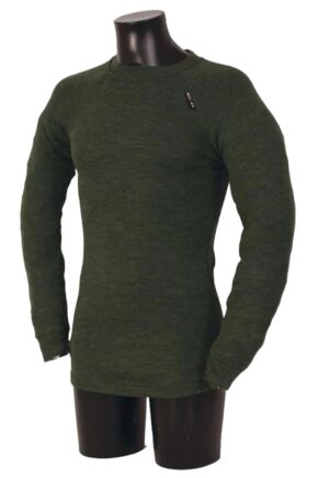 Mens 1 Pack Ussen Baltic Pro Crew Neck Long Sleeved Thermal T-Shirt Olive Marl L