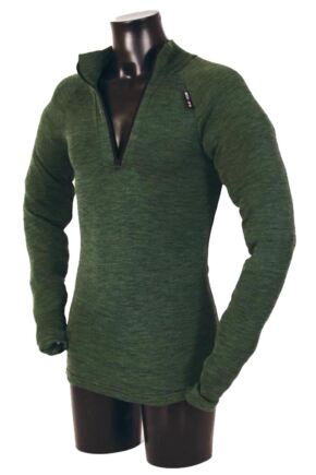 Mens 1 Pack Ussen Baltic Norj Pro Zipped Long Sleeved Polo Top Olive Marl L