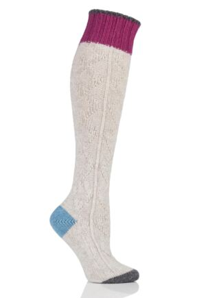 Ladies 1 Pair Urban Knit Cable Knit Knee High Wool Boot Socks