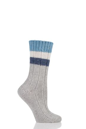 Ladies 1 Pair Urban Knit Shimmer Stripe Wool Boot Socks Grey 4-8 Ladies
