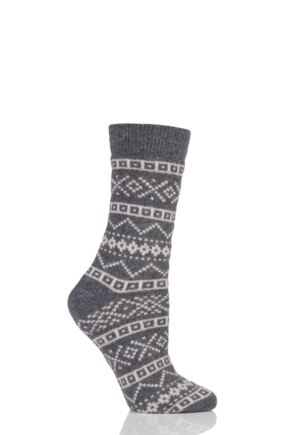 Ladies 1 Pair Urban Knit Aztec Fairisle Wool Socks Graphite 4-8 Ladies