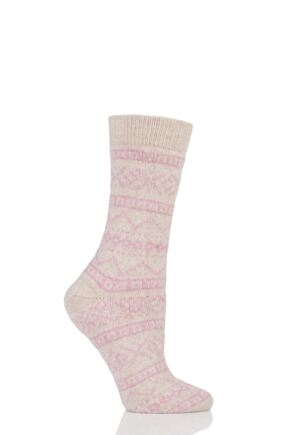 Ladies 1 Pair Urban Knit Aztec Fairisle Wool Socks