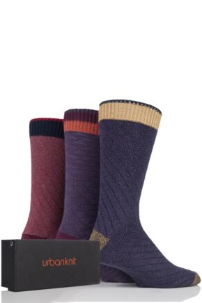 Mens 3 Pair Urban Knit Square Knit Cotton Socks In Gift Box