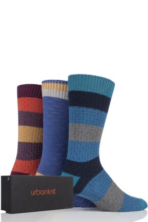Mens 3 Pair Urban Knit Striped Cotton Socks In Gift Box