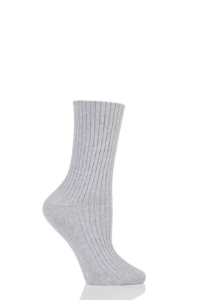 Ladies 1 Pair Urban Knit Cashmere Blend Ribbed Socks Grey 4-8 Ladies
