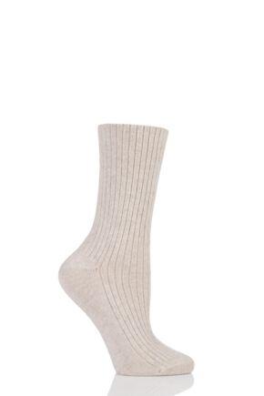 Ladies 1 Pair Urban Knit Cashmere Blend Ribbed Socks