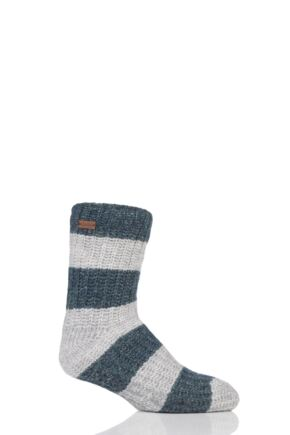 Mens 1 Pair Urban Knit Striped Lined Mohair Chunky Slipper Socks Shaded Fern 7-11 Mens