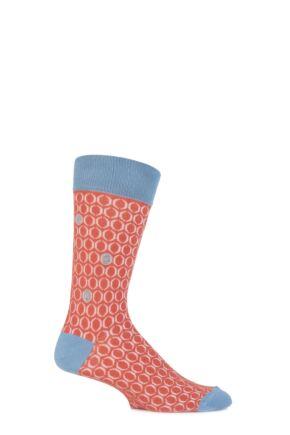 Mens 1 Pair Urban Knit Bubble Effect Cotton Socks Orange