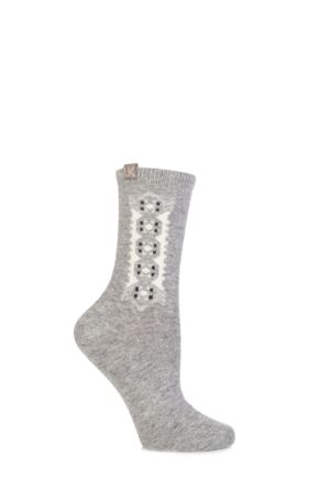 Ladies 1 Pair Urban Knit Floral Folk Lotus Ankle Socks 75% OFF Grey