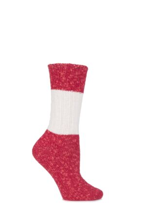 Ladies 1 Pair Urban Knit Block Striped and Ribbed Socks 75% OFF Red / Cream