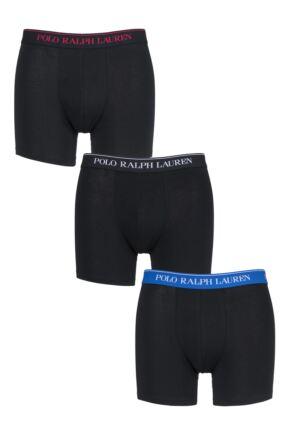 Mens 3 Pack Ralph Lauren Plain Cotton Stretch Longer Leg Boxer Briefs