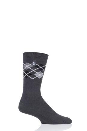 Mens 1 Pair Heat Holders Ultra Lite Argyle Socks