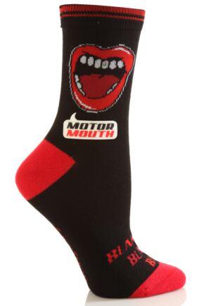 Ladies 1 Pair SockShop Dare To Wear Novelty Socks - Motor Mouth