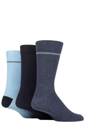 Mens 3 Pair SOCKSHOP TORE 100% Recycled Placement Stripe Cotton Socks