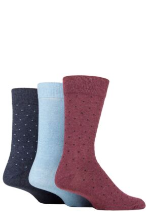 Mens 3 Pair SOCKSHOP TORE 100% Recycled Dots Cotton Socks