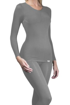 Ladies 1 Pack Heat Holders Long Sleeved 0.39 Tog Thermal Vest Grey SM