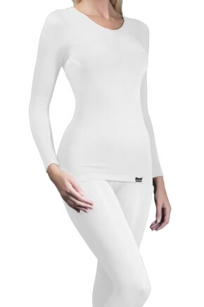 Ladies 1 Pack Heat Holders Long Sleeved 0.39 Tog Thermal Vest White SM