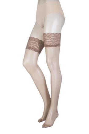 Ladies 1 Pair Oroblu Secret 15 Denier Lace Top Stockings