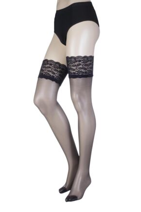 Ladies 1 Pair Oroblu Secret 15 Denier Lace Top Stockings