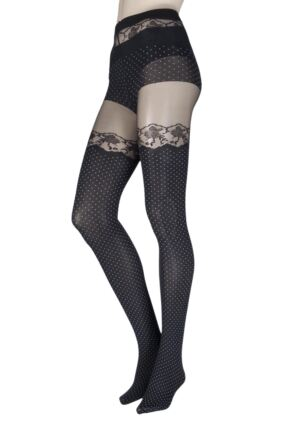 Ladies 1 Pair Oroblu Eleonor Spot and Lace Mock Hold Up Tights