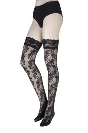 Ladies 1 Pair Oroblu Sophia Floral Lace and Lace Top Hold Ups
