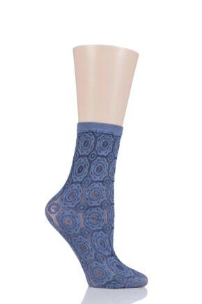 Ladies 1 Pair Oroblu Lauryn Flower Pop Socks