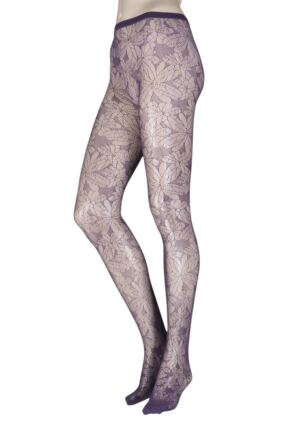 Ladies 1 Pair Oroblu Colleen Floral Net Tights Violet Large/Extra Large