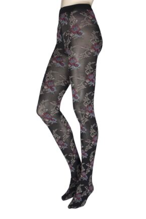 Ladies 1 Pair Oroblu Flower Blooms 50 Denier Tights