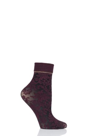 Ladies 1 Pair Oroblu Flower Blossom Socks Bordeaux 4-8 Ladies
