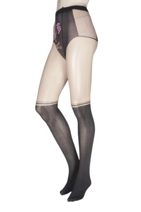 Ladies 1 Pair Oroblu Dressy Floral Top Mock Over the Knee Tights