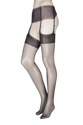 Ladies 1 Pair Oroblu Just for You Caprice Suspender Belt and Stocking Set