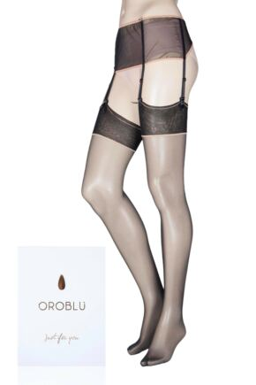 Ladies 1 Pair Oroblu Just for You Caprice Suspender Belt and Stocking Set
